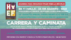 Advertisment in Spanish for the Fun Run and Walk.